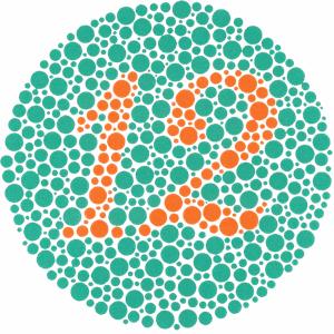 Ishihara Farbtafel zur Erkennung einer Rot-Grün-Sehschwäche. Klein