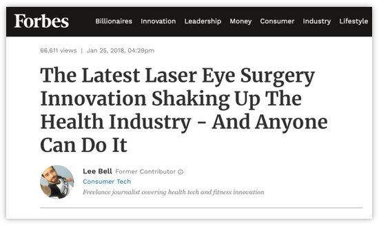 """Screenshot von einem englischsprachigen Artikel von Forbes Journalist Lee Bell mit der Headline """"The Latest Laser Eye Surgery Innovation Shaking Up The Health Industry – And Anyone Can Do It"""""""
