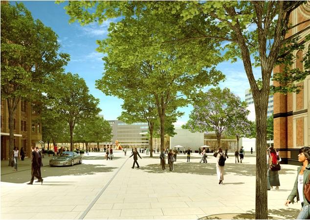 Modellbild des neuen Martin-Luther-Platzes.