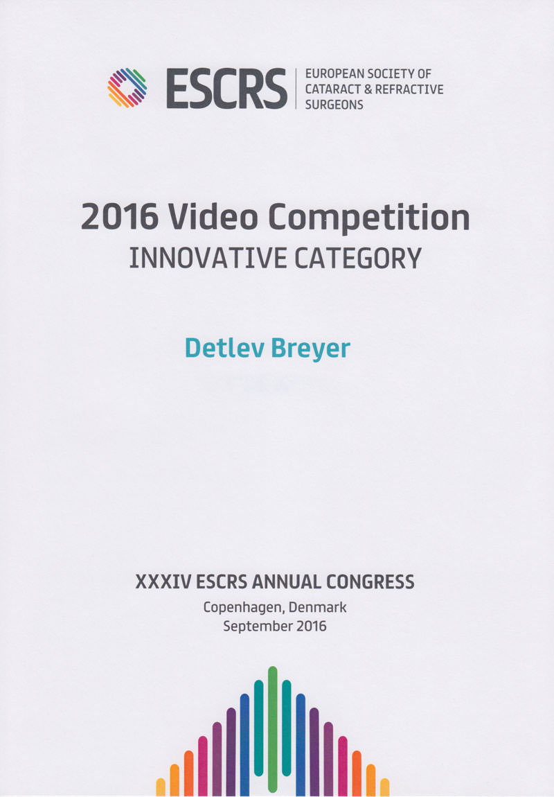 Urkunde 2016 Video Competition – Innovative Category