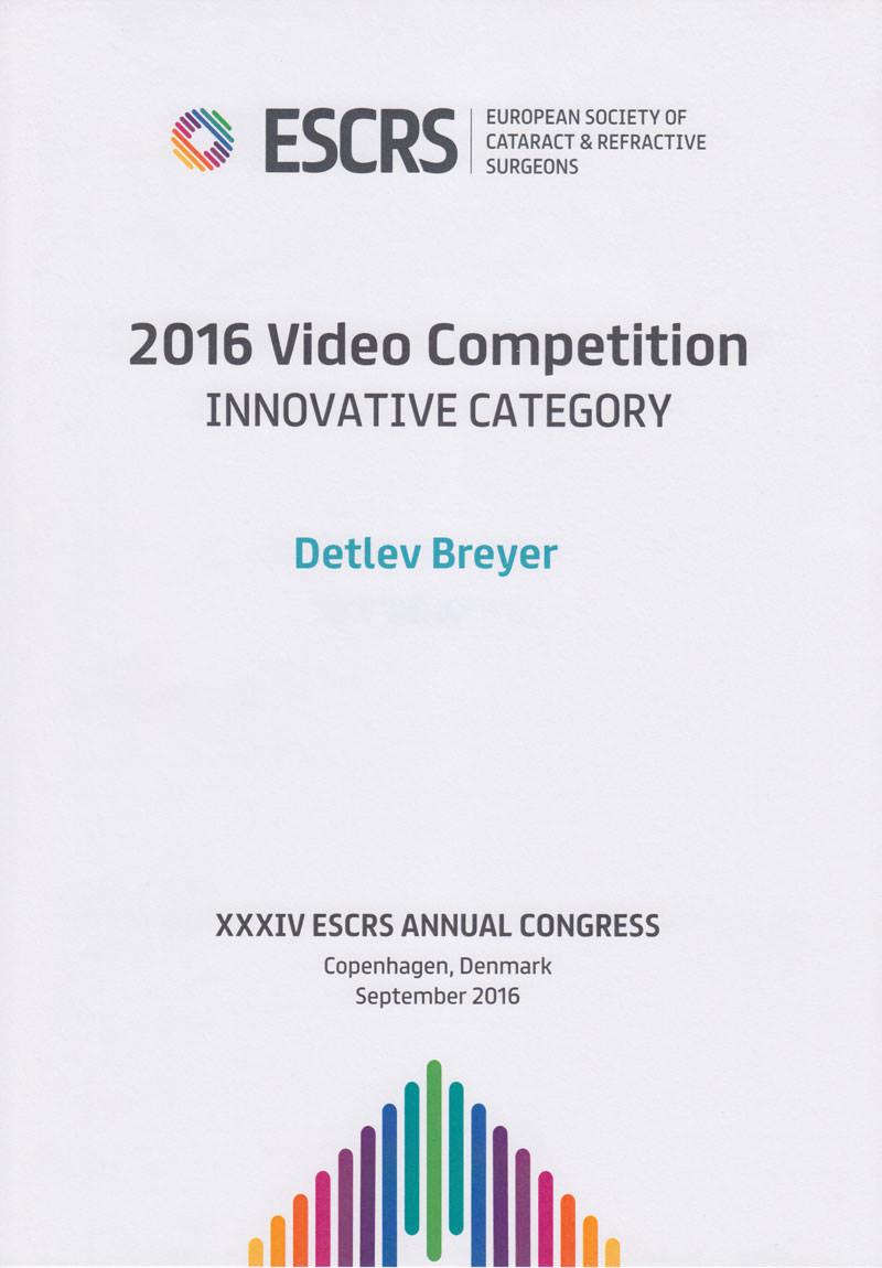 Urkunde 2016 Video Competition – Innovative Category