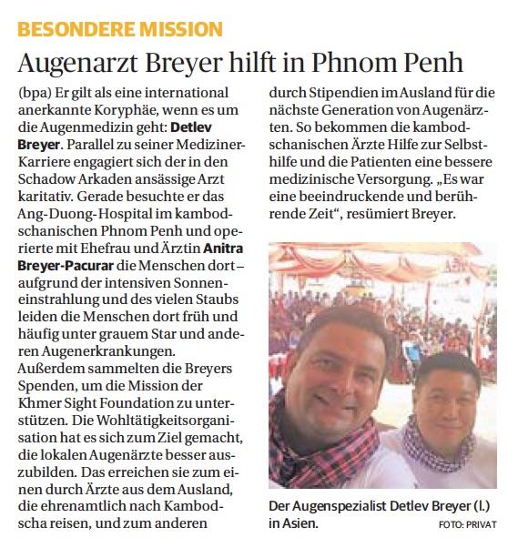 Der Artikel über den Auslandseinsatz von Dr. Breyer in der Rheinischen Post.