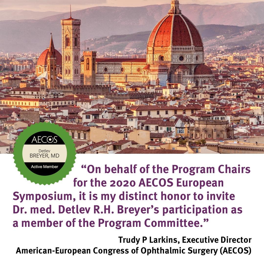 Foto mit der Skyline von Florenz, darunter ein AECOS Badge und eine Zeile aus dem Einladungsschreiben an Dr. Breyer in die Programm-Kommission für das European Symposium 2020 in Florenz.