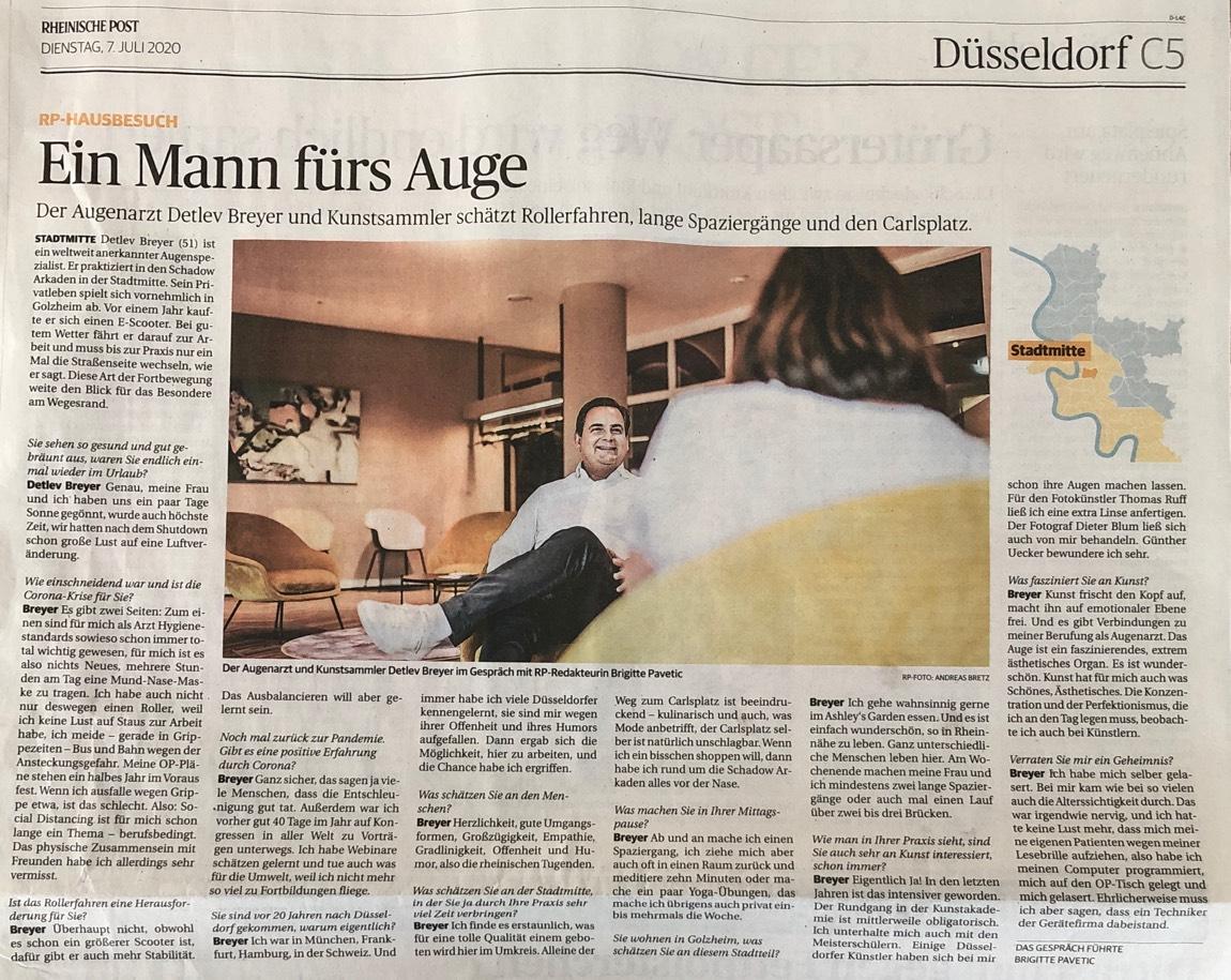 Foto des Artikels in der Rheinischen Post vom 7. Juli 2020