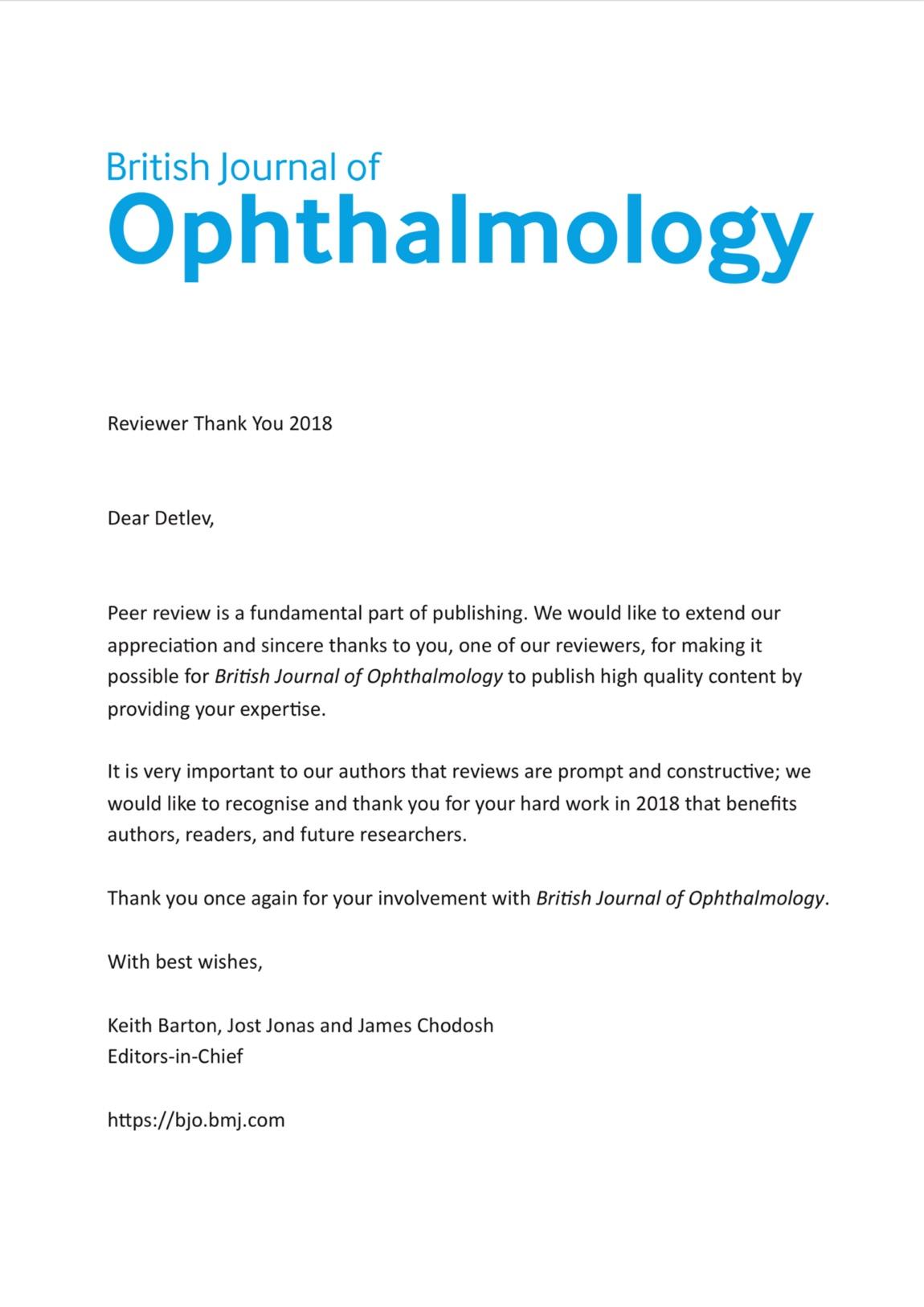 Dankesschreiben des British Journal of Ophthalmology an Dr. Breyer für seine Gutachtertätigkeit im Jahr 2018.