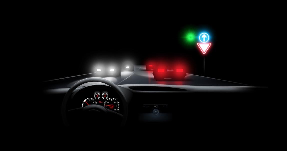 Illustration von Lichteffekten aus der Sicht eines Autofahrers bei Nacht