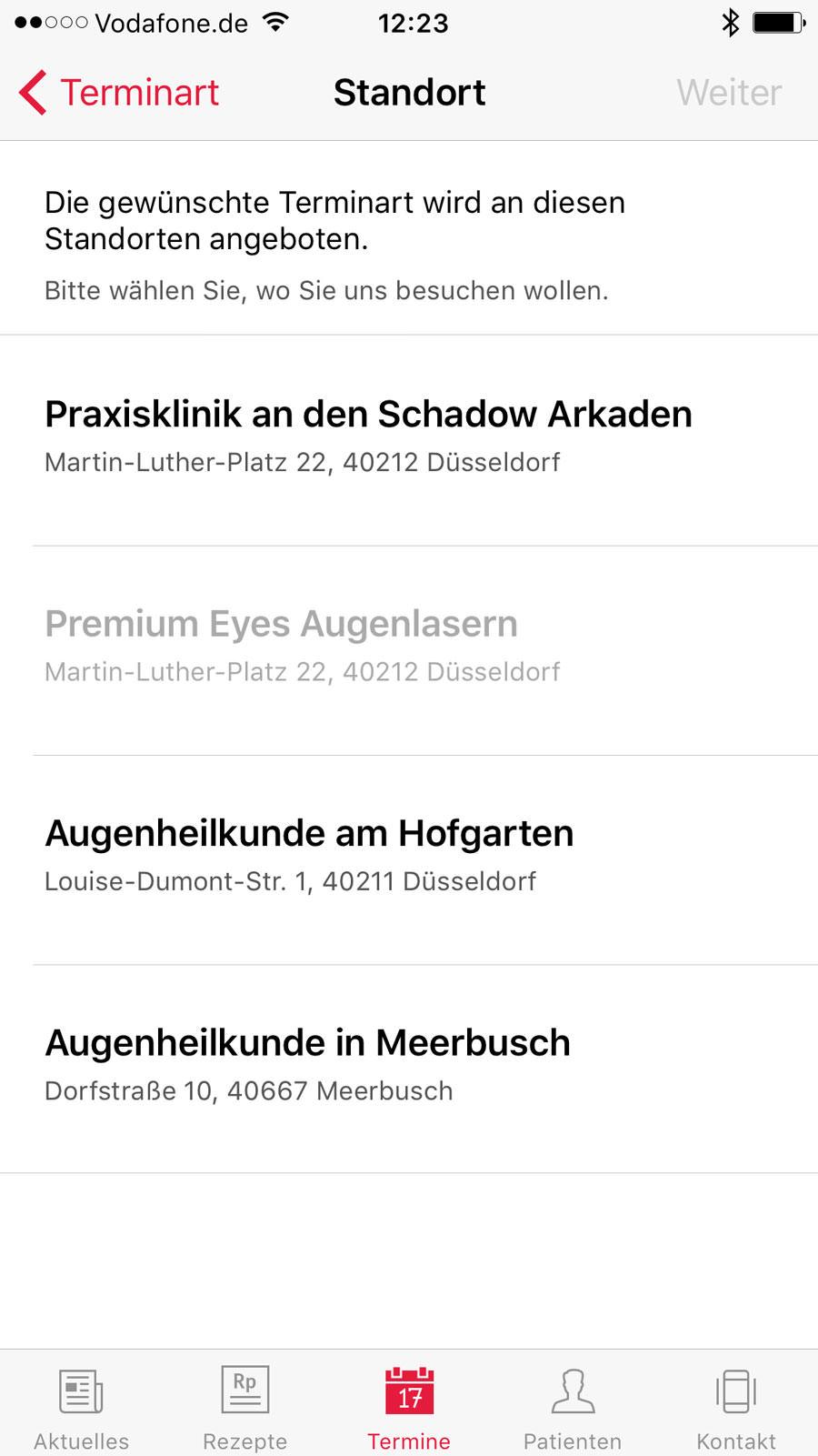 Screenshot der Standortauswahl