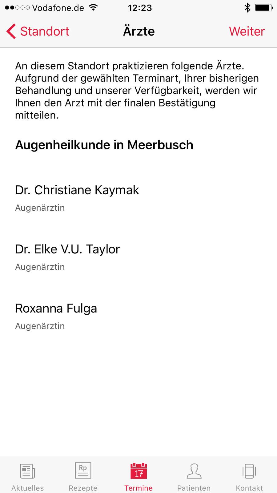 Screenshot der Ärzteauswahl