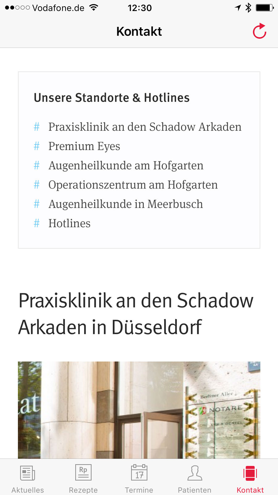 Screenshot der Kontaktansicht
