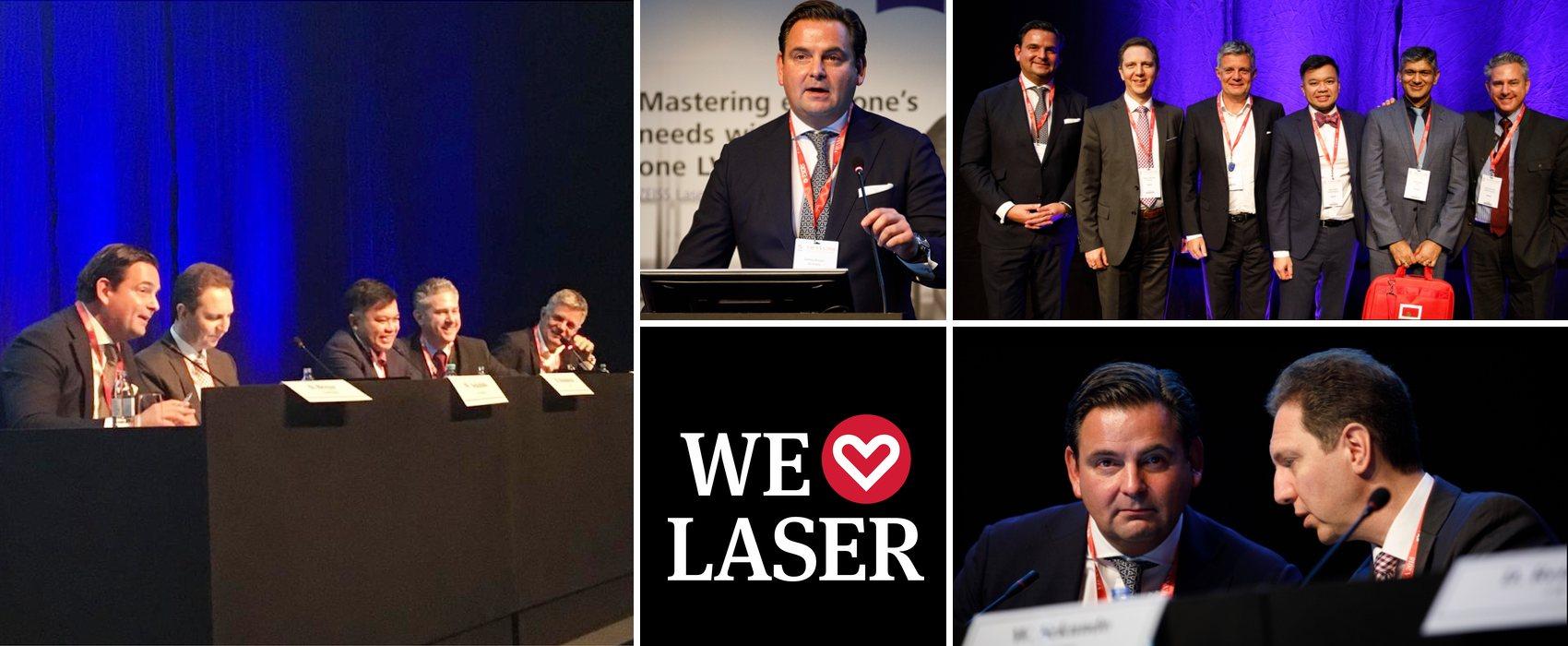 Collage aus Fotos vom ESCRS-Meeting mit Dr. Breyer als Moderator und Redner.