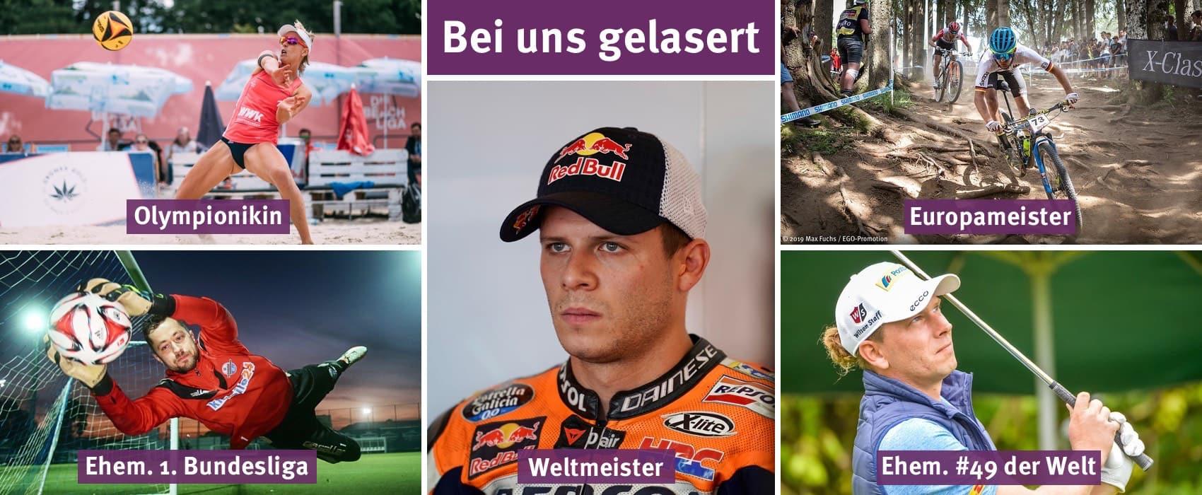 Fotocollage mit Fotos von prominenten Sportlern. Darüber die Überschrift