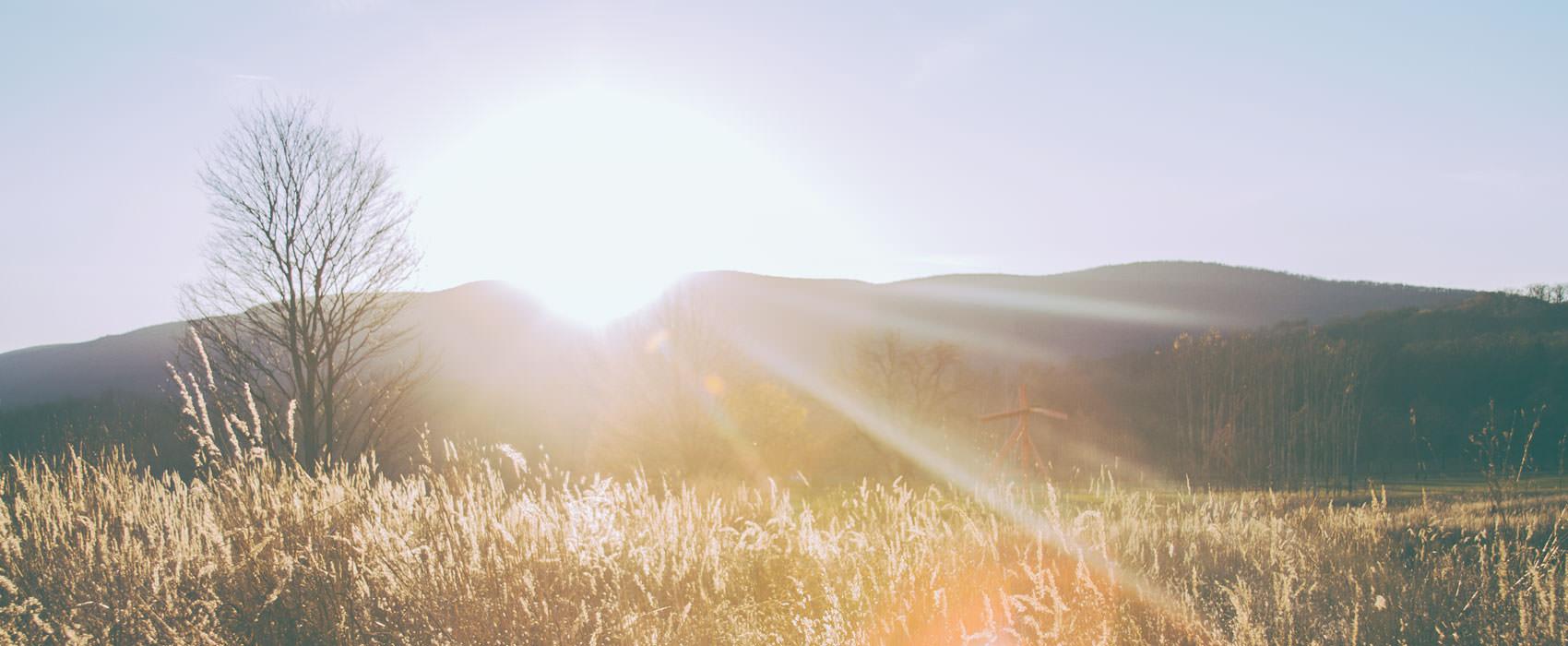 Gegenlichtaufnahme von einem Hügel hinter einem Feld.