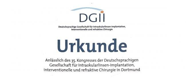 Der DGII-Kongress zeichnet drei unserer Vorträge aus