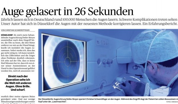 Redakteur der RP lässt seine Augen von Dr. Breyer lasern